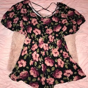 American Eagle Outfitters Strappy Floral Romper